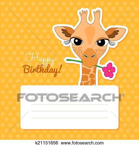 Clip Art Of Happy Birthday Card With Cute Cartoon Giraffe K21151656