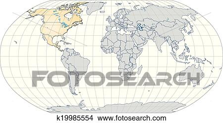 clipart of map of north america and the world k19985554 search