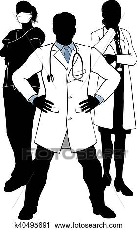 Clipart Of Medical Team Doctors And Nurses Group Silhouettes