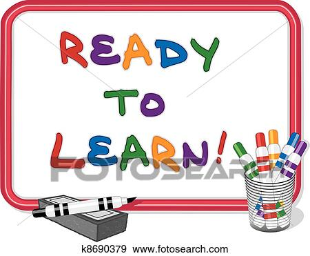 clip art of ready to learn whiteboard k8690379 search clipart rh fotosearch com whiteboard clip art free interactive whiteboard clipart