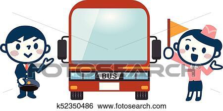 clip art of tourist bus and tour conductor k52350486 search rh fotosearch com clipart tourist guide clipart tourist information