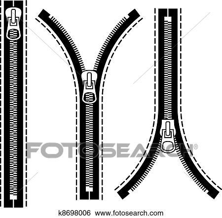 Clipart vecteur fermeture clair noir symboles - Eclaire dessin ...