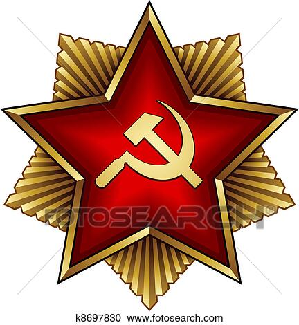 Clipart Of Vector Golden Soviet Badge Red Star Sickle And Hammer