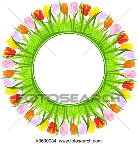 Clipart of vector round frame of colorful spring tulips in grass ...