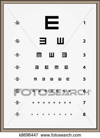Clip Art Of Vector Snellen Eye Test Chart K8696447 Search Clipart