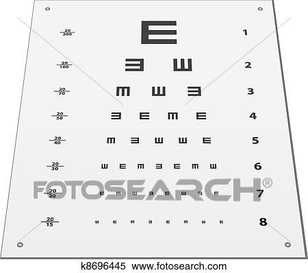 Clipart Of Vector Snellen Eye Test Chart K8696445 Search Clip Art