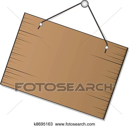 Clipart Of Vector Wood Sign Hanging K8695163