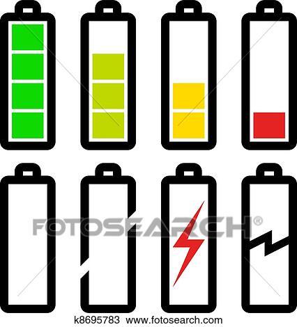 Clipart - vektor, symbole, von, batterie, wasserwaage k8695783 ...