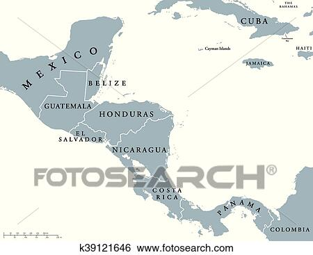 Central America countries map Clip Art   k39121646   Fotosearch