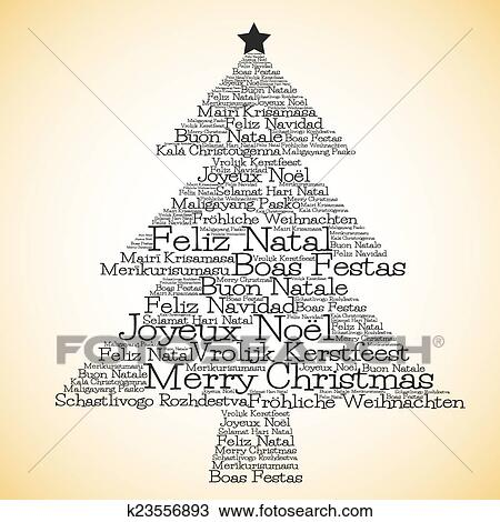 christmas tree made from merry christmas in different languages in vector format