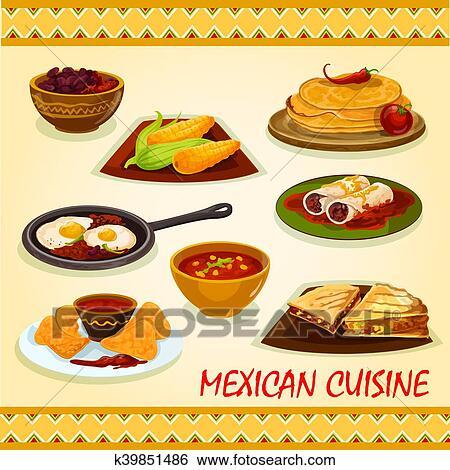 clipart cuisine mexicaine pic plats ic ne k39851486 recherchez des cliparts des. Black Bedroom Furniture Sets. Home Design Ideas