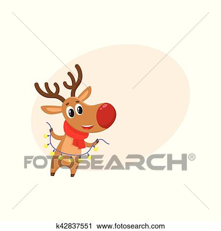Christmas Reindeer Cartoon.Funny Christmas Reindeer In Red Scarf Holding A Garland Clipart
