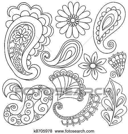 Clip Art Of Henna Paisley Tattoo Doodles Vector K8705978 Search