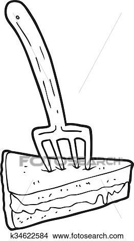 Schwarz Weiss Karikatur Kuchen Mit Gabel Clipart K34622584