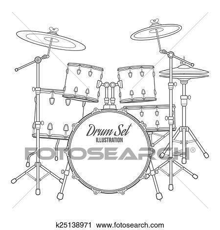 Clipart Of Vector Dark Outline Drum Set On White Background Bass Tom