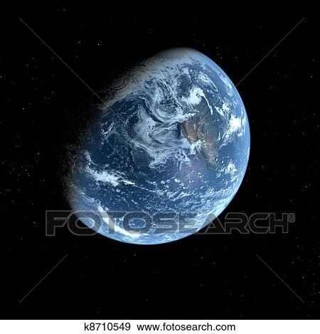 3d Terra Modello Con Sfondo Nero Archivio Illustrazioni