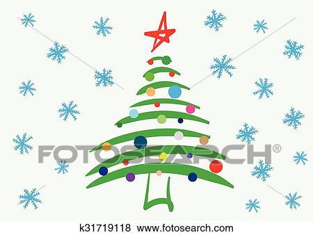 Tannenbaum Mit Schneefall.Dass Stilisiert Tannenbaum Und Schneefall Clip Art