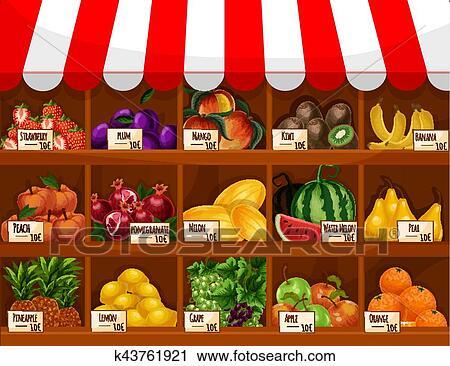 Clipart frutta negozio vettore bacheca stare in for Clipart frutta