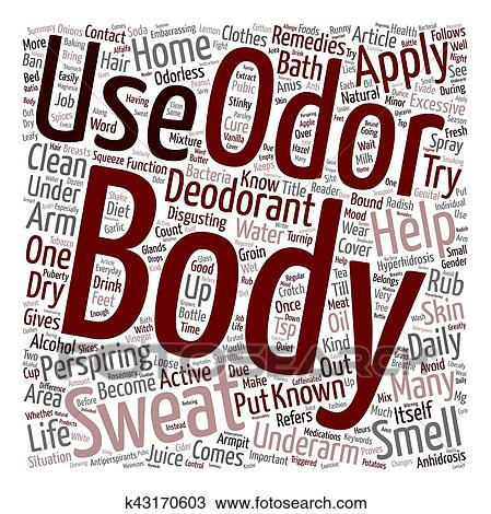 Home Remedies For Body Odor text background wordcloud concept Clipart
