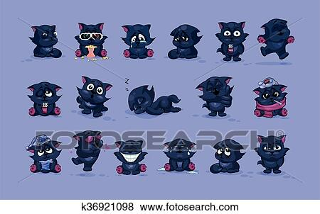 Clip art isolato emoji carattere cartone animato gatto nero