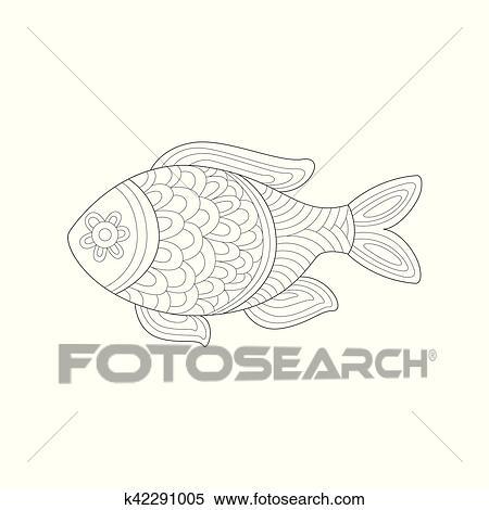 Klein Salzwasser Tropischer Fisch Meer Unterwasserwelt Natur Ausgewachsene Schwarz Weiss Zentangle Ausmalbilder Abbildung Clipart K42291005 Fotosearch