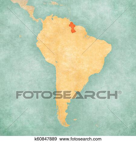 Stock Illustration of Map of South America - Guyana k60847889 ...