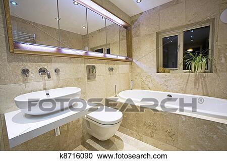 Moderne, salle bains, 2 Banque d\'Image