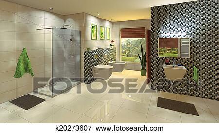 Archivio illustrazioni moderno bagno con mosaico parete