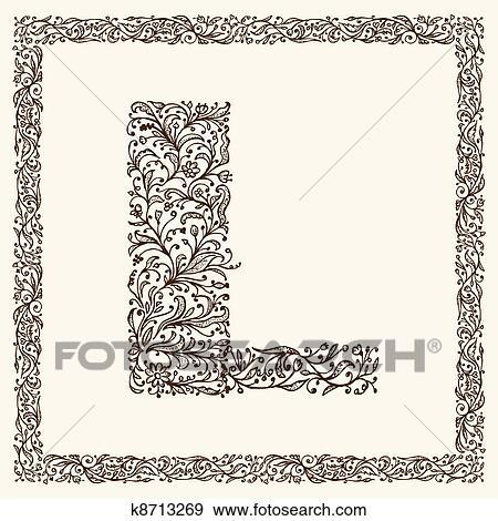 clipart ornamental letra para seu desenho k8713269 busca de