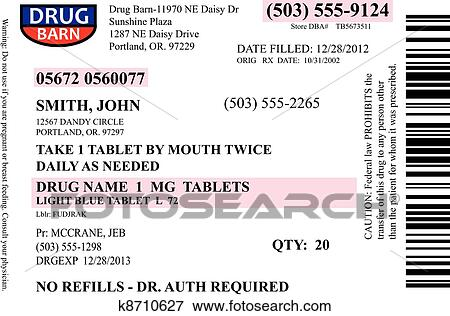 a prescription label vector with many editable fields