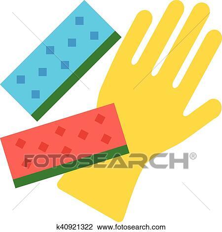 Putzen, handschuh, und, kueche, schwämme Clipart