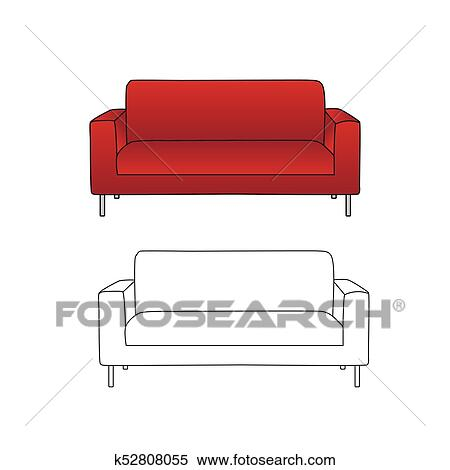 Clipart Of Red Sofa And Outline Isolated On White Background