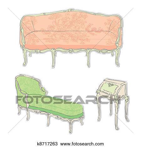 Rokoko Antiker Möbel Aufkleber Zeichnung