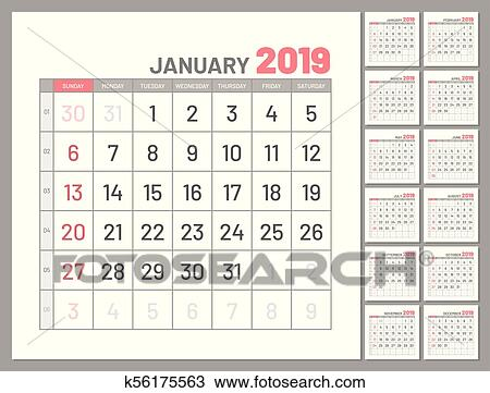 Calendar January 2019 Year In Simple Style. Calendar Planner.. Royalty Free  Cliparts, Vectors, And Stock Illustration. Image 113479073.
