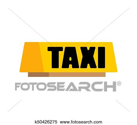 Clipart Taxi Car Light Sign Isolated Vector Ilration Fotosearch Search Clip Art