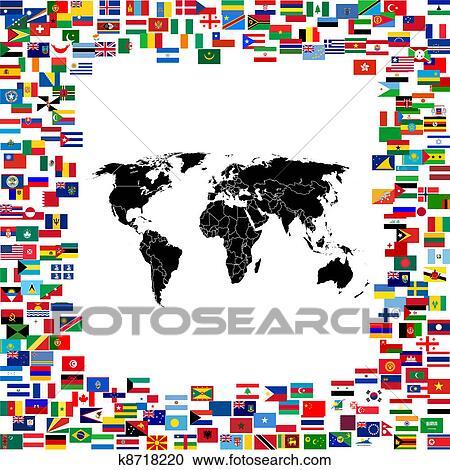 Stock Illustrationen Weltkarte Gerahmt Mit Welt Flaggen