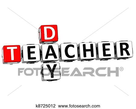 3D Teacher Day Text Crossword On White Background