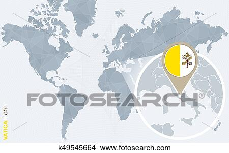 Vatican City On World Map.Abstract Blue World Map With Magnified Vatican City Clipart