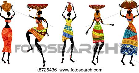 clip art of african women in traditional dress k8725436 search rh fotosearch com african clip art images african clip art borders free