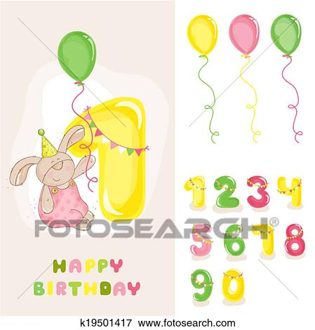 Clip Art Of Baby Bunny Birthday Card With Editable Numbers