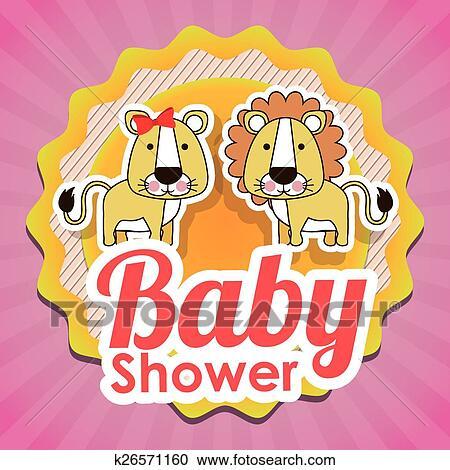 Clipart Of Baby Shower Design Vector Illustration K26571160