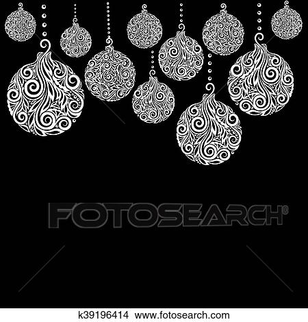 beautiful monochrome black and white christmas background with christmas balls hanging great for greeting cards