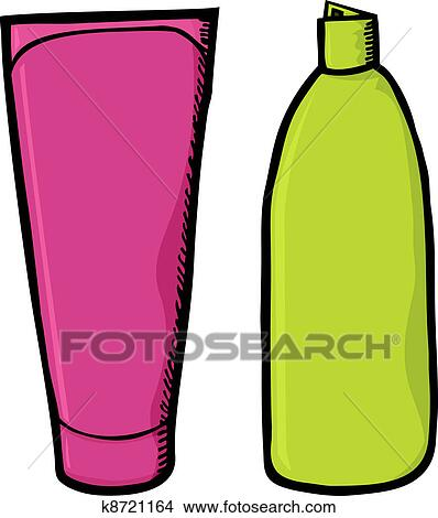 clipart of blank shampoo containers k8721164 search clip art rh fotosearch com Shampoo and Conditioner Bottles shampoo bottle clipart black and white
