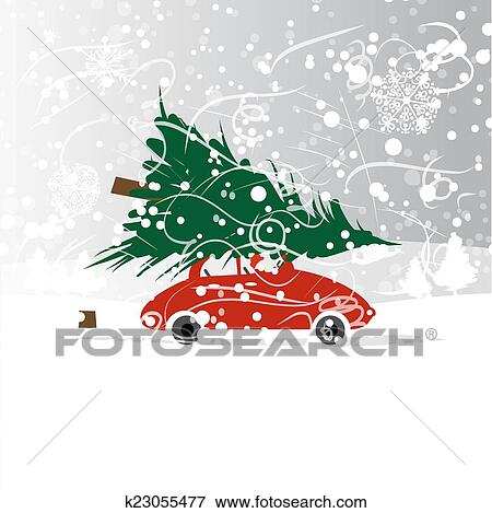 Clip Art Of Car With Christmas Tree Winter Blizzard For Your Design