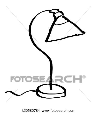 Clipart Cartoon Desk Lamp On White Background Fotosearch Search Clip Art Ilration