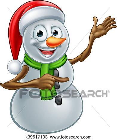 Christmas Pictures Cartoon.Christmas Snowman Cartoon Santa Hat Character Pointing Iskarpa