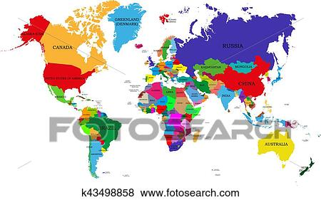 Clip Art of Colored political world map with names of sovereign ...
