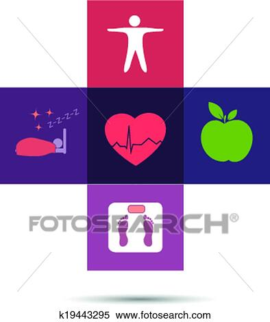 Clipart Of Colorful Health Care Cross Symbol K19443295