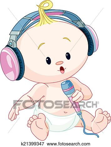 Clip Art Of Dj Baby K21399347 Search Clipart Illustration Posters