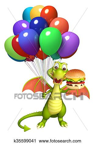 Clipart Of Fun Dragon Cartoon Character With Burger And Balloon